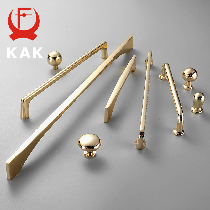 KAK Zinc Alloy Bright Gold Cabinet Pulls Light Luxury Stylish Kitchen Handles For Furniture Drawer Knobs Cabinet Hardware
