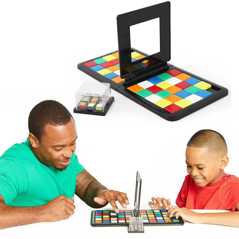 Color Battle Square Race Game Parent-Child Square Desktop Kids Puzzles Learning Educational Toys Anti Stress Boys Girls Gifts(China)