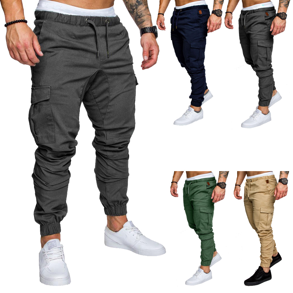 2019 New Men Pants Hip Joggers Fashionable Overalls Trousers Casual Pockets Solid Color Mens Sweatpants