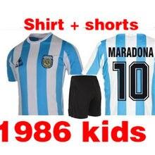 Классическая Детская Ретро футболка 1986 Maradona 10, белая детская футболка, можно настроить Название и номер
