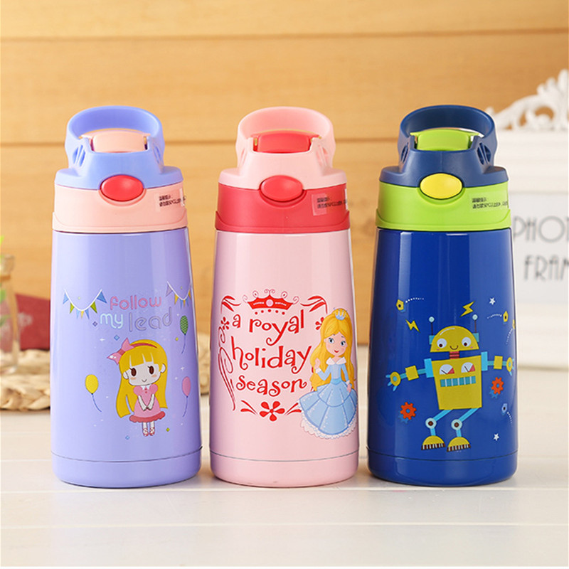 400ml Kids Stainless Steel Thermos Mug With Straw Cartoon Leak-Proof Vacuum Flask Children Thermal Bottle Thermocup