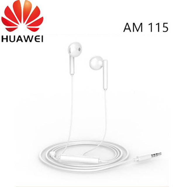 Original Huawei p smart z Earphone AM115 Half In ear Headset With Microphone / Volume Control / Noise Canceling For P10 P20 lite
