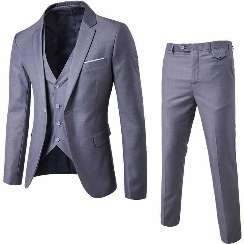 CYSINCOS メンズ 3Pc (ジャケット + ベスト + ズボン) 男性ビジネス薄型春スーツ固体カジュアルオフィススーツアジア