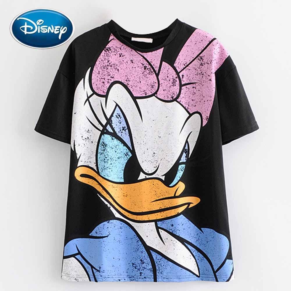 Disney Donald Daisy Duck Cartoon Print Black Women T-Shirt O-Neck Pullover Short Sleeve Casual Sweet Streetwear Loose Tee Tops