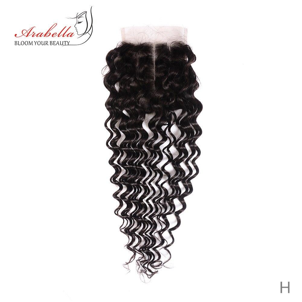 Deep Wave 4*4 Lace Closure Natural Black 100% Human Hair Middle/Free/Three Part Arabella Remy Hair Lace Closure