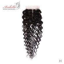 Derin dalga 4*4 dantel kapatma doğal siyah 100% insan saçı orta/ücretsiz/üç bölüm Arabella Remy saç dantel kapatma