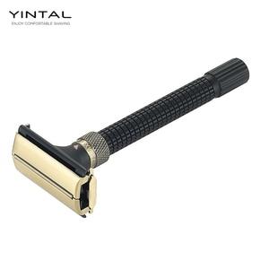 Image 1 - Yintal lâmina de barbear ajustável, com borboleta aberta dupla borda segura 3 cores latão alça longa lâminas projetadas por weishi