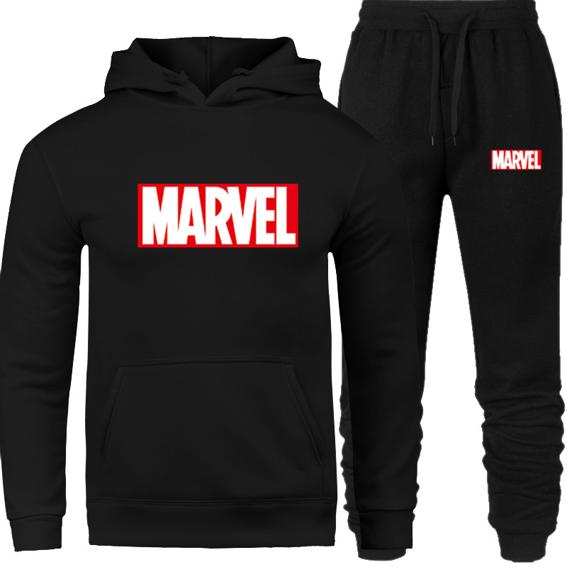 Men's Set 2019 New Brand Tracksuit Fashion Hoodies Men Sportswear Two Piece Sets Fleece Thick Hoody+Pants Sporting Suit MARVEL Prints