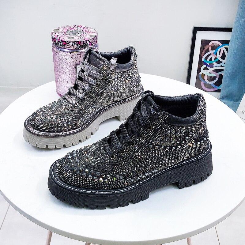 Femme bottines 2019 printemps automne mode strass talons hauts femmes bottines en caoutchouc semelle femelle automne Chunky chaussures