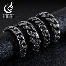 Fongten Ретро кубинские звенья цепи браслет панк для мужчин нержавеющая сталь Винтаж хип-хоп мужчин s черный браслеты браслет модные ювелирные изделия