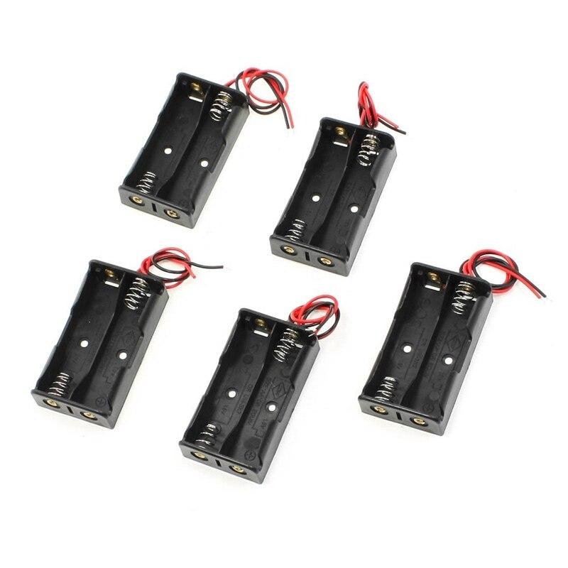 5 pièces 2x1.5 V AA support de batterie boîte noir w fils fils