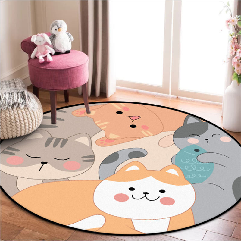 Area Rug For Living Room Cartoon Cute Kitten Pattern Round Rug Rugs For Children Rooms Nordic Decoration Home Baby