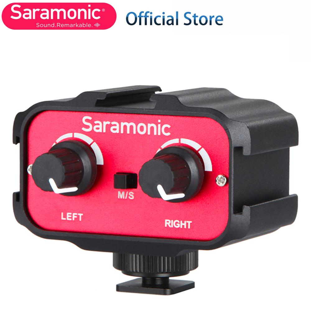 Saramonic SR-AX100 Universal Microphone Audio Adapter Mixer with Stereo & Dual Mono 3.5mm Inputs for Canon Nikon DSLR Camcorder