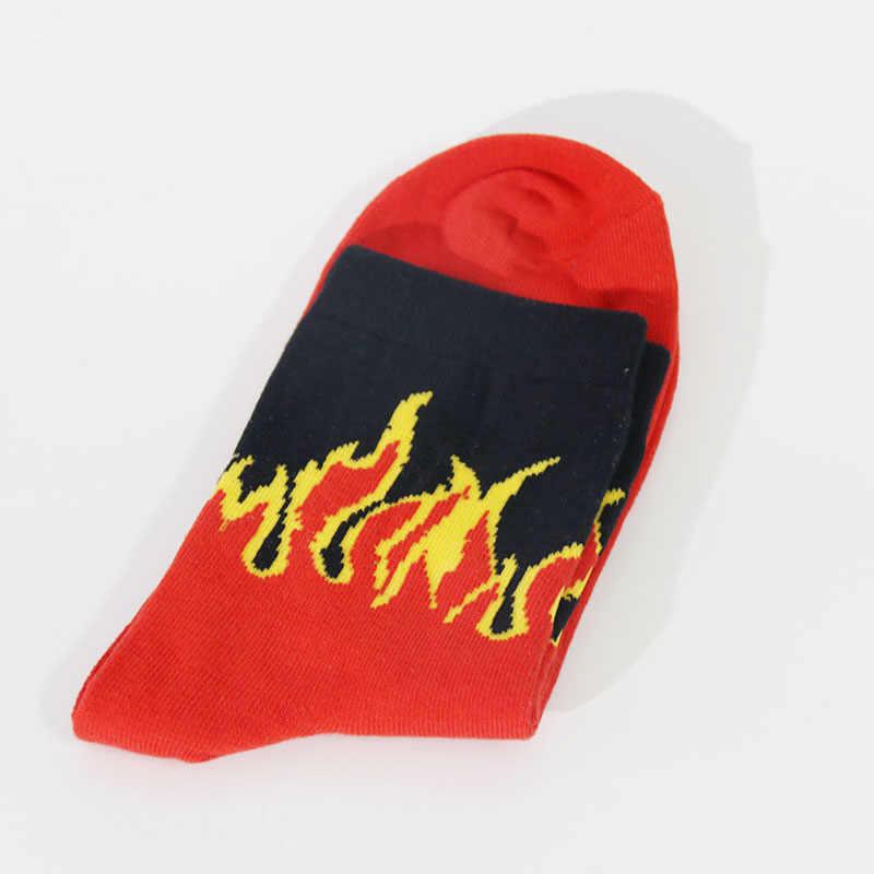 Moda męska Hip Hop hit kolorowy na ogień załogi skarpetki czerwony płomień Blaze mocna latarka gorące ciepło na deskorolkę na ulicę bawełniane skarpetki