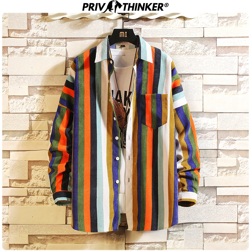 Privathinker Mens 2019 Autumn Striped Dress Shirts Men High Quality Breathable Soft Classic Shirt Male Streetwear Tops Oversize