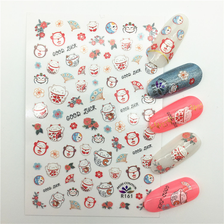 Japanese-style Lucky Cat Nail Sticker Kimono Doll Matryoshka Doll Nail Decals Thin Gum-Style Nail Jewelry