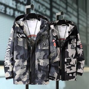 Plus Size 10XL 9XL 8XL Men Casual Jacket Overalls Hooded Black Windbreak Letter Print clothes fashion coats streetwear