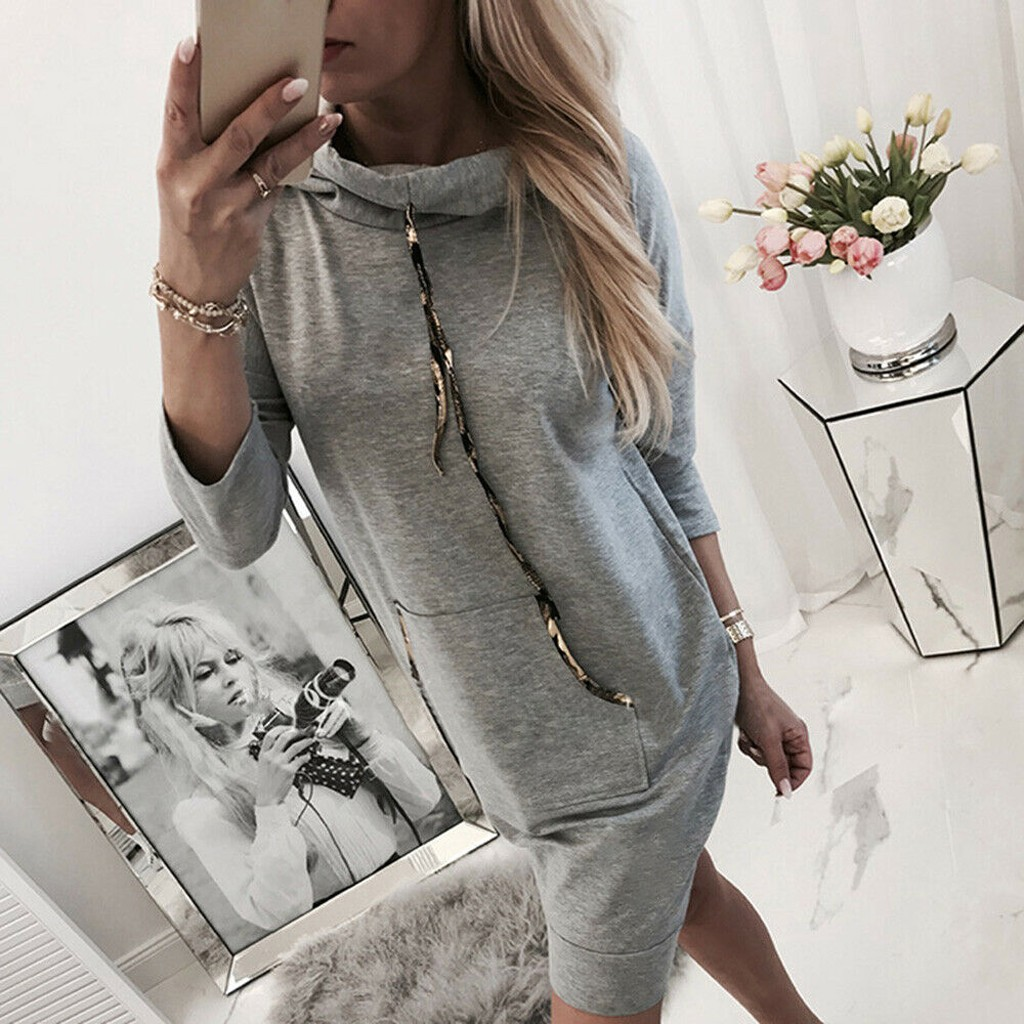 Sping Dresses Women Long Sleeve Solid Jumper Pullover Sweatshirt Hoodie Hooded Dress Straight Fashion New Dress