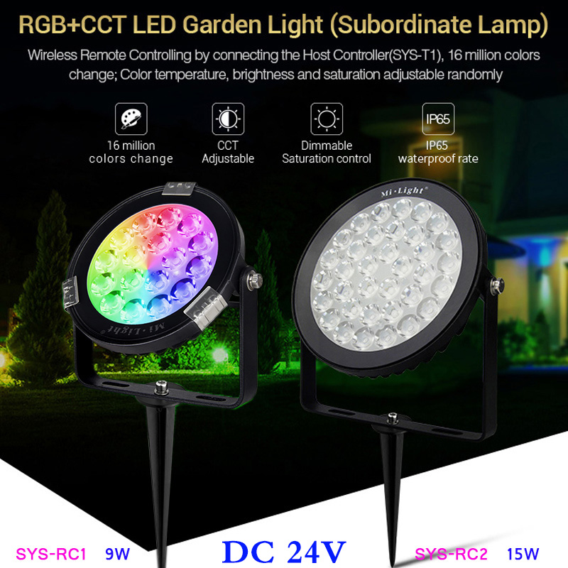 9w 15w rgb cct led garden light subordinate lamp dc24v led landscape light can wifi smart phone app dimmable 2 4g remote control