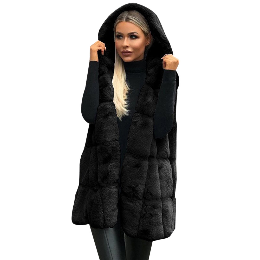 Women Sleeveless Hooded Coat Solid Color Plus Size Warm Long Wool Coat Ladies 2019 Fashion Fake Fur Outerwear Femme 12.5