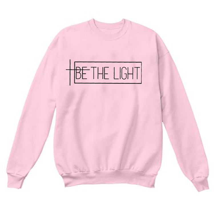 Casual Autumn Winther Long Sleeve Christian Sweatshirts Be The Light Sweatshirt Women Graphic Tumblr Hipster Pullover Hoodies