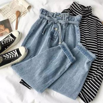 INS modne damskie granatowe dżinsy z szerokimi nogawkami koreańskie studenckie spodnie z wysokim stanem modne damskie czarne dżinsy 2020 tanie i dobre opinie Akrylowe Pełnej długości CN (pochodzenie) Wiosna jesień Women s jeans Daddy Harem jeans Stałe Na co dzień Proste Mieszkanie