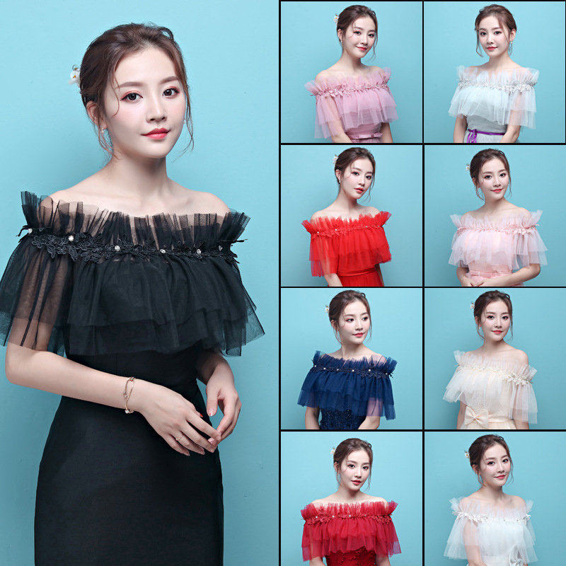 Multi Colors Wedding Dress Cape Red Cape Appliqued Lace Bolero Femme Mariage Bolero Bridal Shrugs For Women Black Capa De Novia