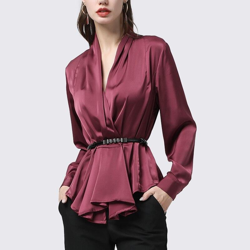 100% chemise femme en soie véritable mode plissée à manches longues col en v haut avec ceinture en métal grande taille élégante femme coréenne automne Blouse