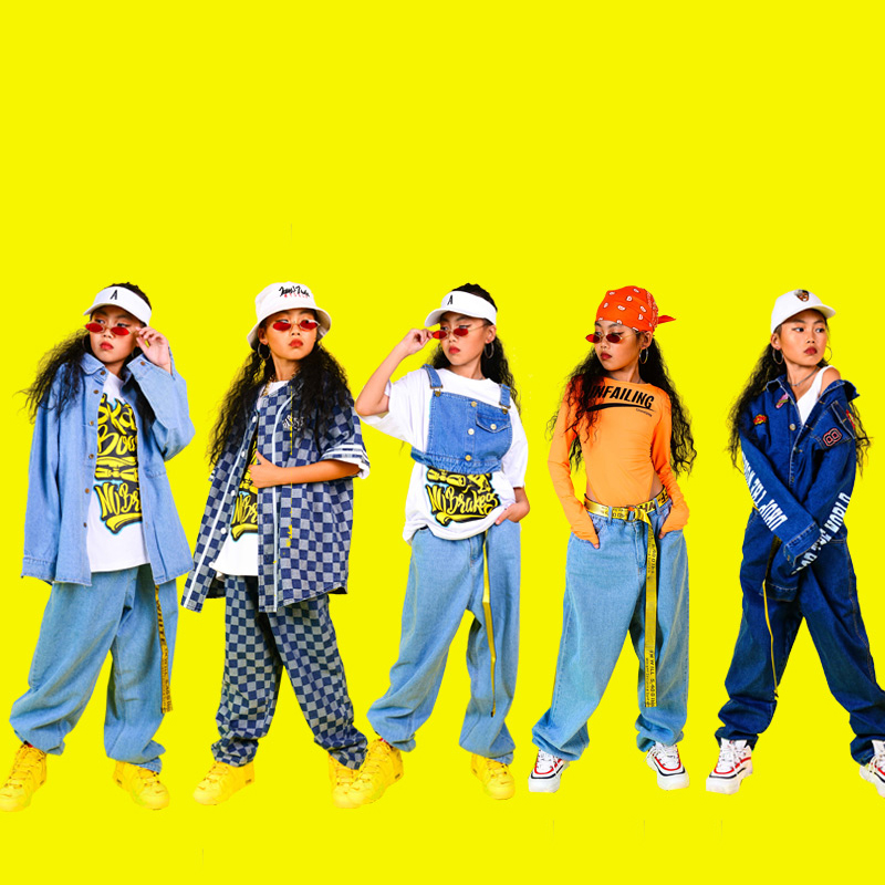 New Children Hip Hop Clothes Kids Jazz Street Dance Costume Girls Sweatshirt Pants Set Ballroom Dancewear Stage Outfit DQS2691