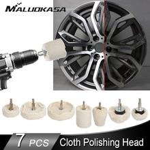 7PCS Car Rims Polishing Buffing Wheel White Cloth Polishing Wheel Car Detail Polishing Waxing Cleaning Maintenance Tool