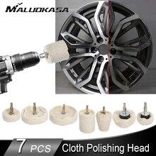 7Pcs Auto Velgen Polijsten Buffing Wheel Witte Doek Polijsten Wiel Auto Detail Polijsten Waxen Schoonmaken Onderhoud Tool