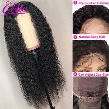 Celie saç kıvırcık insan saçı peruk Kinky kıvırcık ön peruk bebek saç ile kopardı dantel ön İnsan saç peruk 13x6 kıvırcık peruk