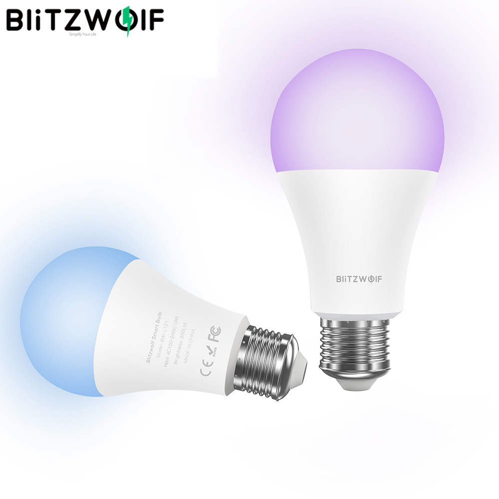 BlitzWolf BW-LT21 Smart Bulb with APP Remote Control 3000K+RGB Smart Wifi LED Bulbs Support for Amazon for Echo for Google Home image