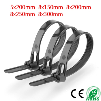 100Pcs Black Nylon Plastic Releasable Reusable Cable Tie Zip Wraps Ratchet Ties Wire 8*150mm/8*200mm/8*300mm for Binding Cable 100pcs white self locking cable tie high quality nylon fasten zip wire wrap strap 2 5x100mm 2 5x150mm plastic