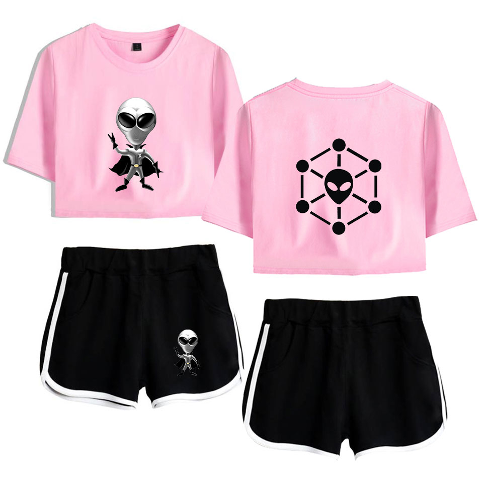 Alion Womens 2 Pieces Outfits Short Sleeve Crop Top and Short Tracksuit Set