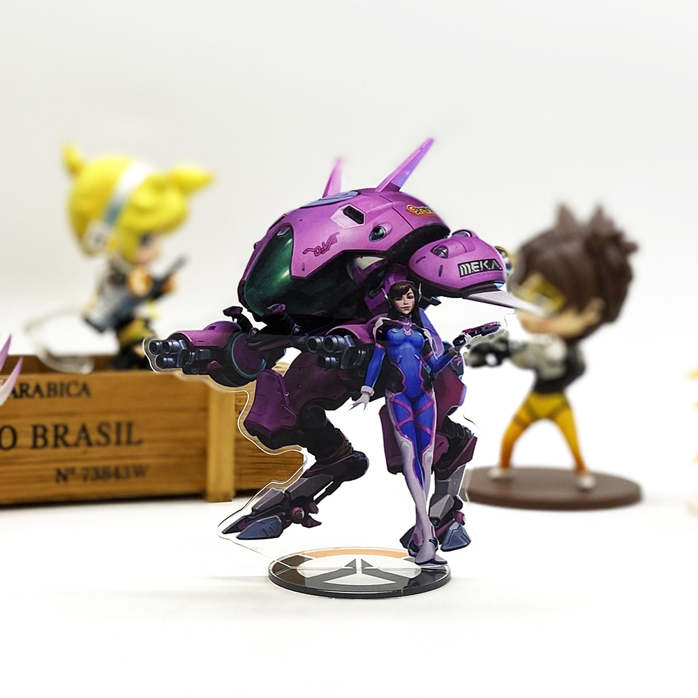 Love Thank You OW Watch D.va DVA Mech Acrylic Stand Figure Model Plate Holder Cake Topper Anime Toy