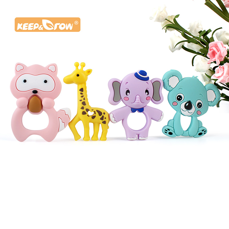 Keep&Grow Cartoon Baby Teether Animal Silicone Teether Raccoon Elephant Koala Giraffe DIY Baby Teething Toys Accessories