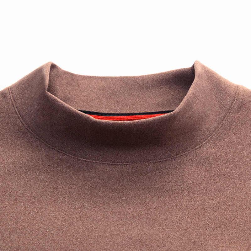 2019 厚く暖かい底入れシャツハーフタートルネック新ファッション Tシャツメンズトレンドトップスストリートスタイル長袖 Tシャツ男性服