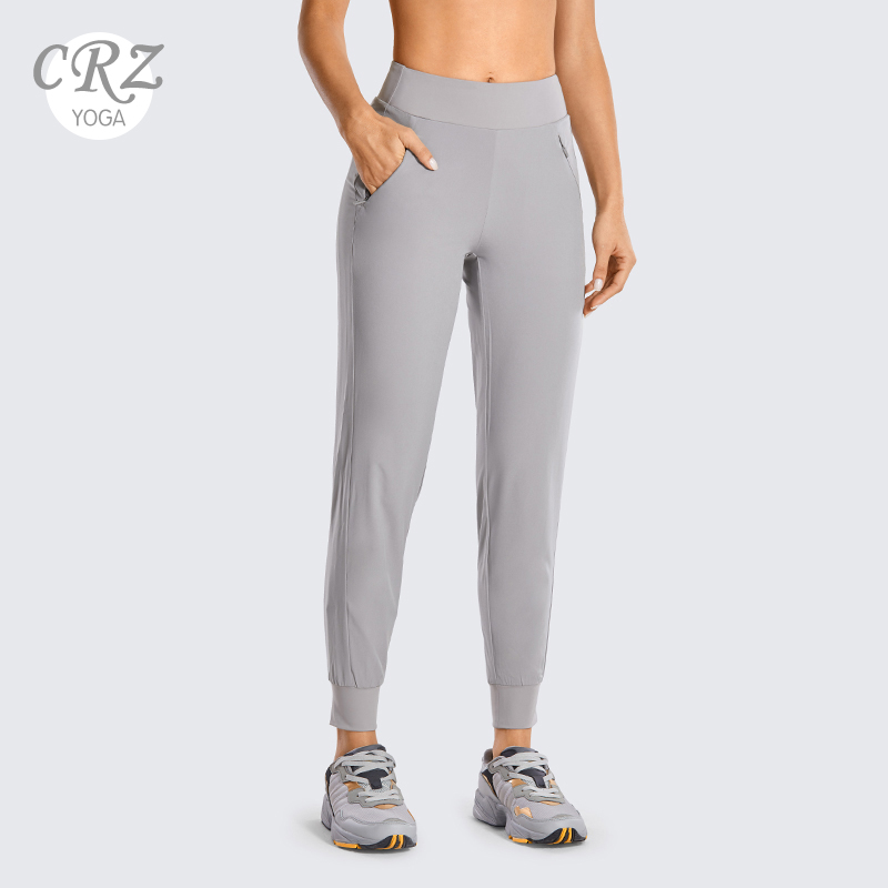 CRZ YOGA Women's Double Layer Jogger Sweatpants With Zipper Pockets Warm Stretchy Comfy Lounge Pants Elastic Waist