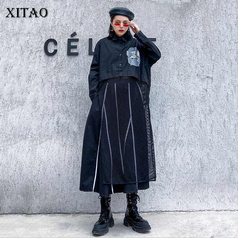 XITAO Harajuku Womens Tops And Blouses Minority Mesh Splicing Tops Women Fashion Streetwear Shirt Long Black Plus Size XJ3744