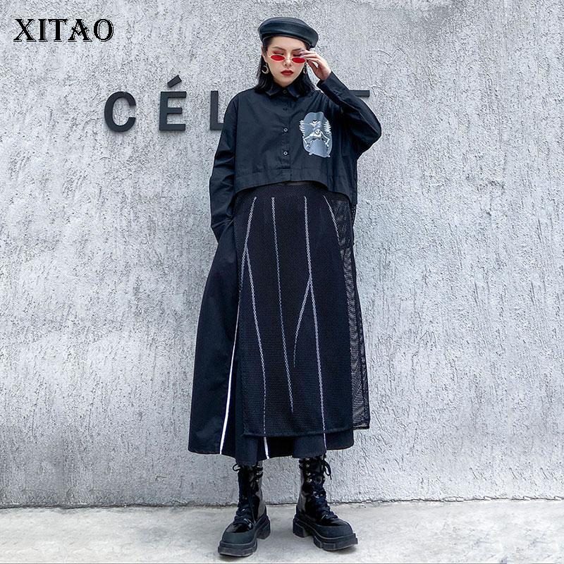 XITAO Harajuku Womens Tops And Blouses Minority Mesh Splicing Tops Women Fashion Streetwear Shirt Long Black Plus Size XJ3744