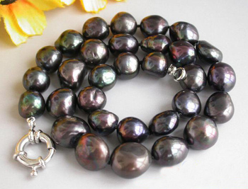 Unique Pearls jewellery Store Huge 17''  15mm Baroque Black Freshwater Cultured Pearl Necklace Charming Women Gift