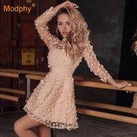 2019 summer new elegant women's mini dress sky blue beige pink long sleeve lace A word dress celebrity party dress Vestidos