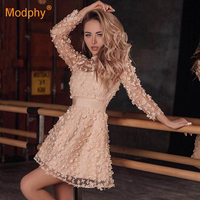 2019 summer new elegant women's mini dress sky blue beige pink long sleeve lace A word dress celebrity party dress Vestidos