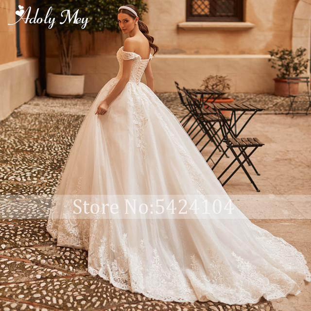 Adoly Mey Gorgeous Appliques Sparkly Tulle A-Line Wedding Dress 2021 Luxury Sweetheart Neck Beading Lace Up Princess Bridal Gown 2
