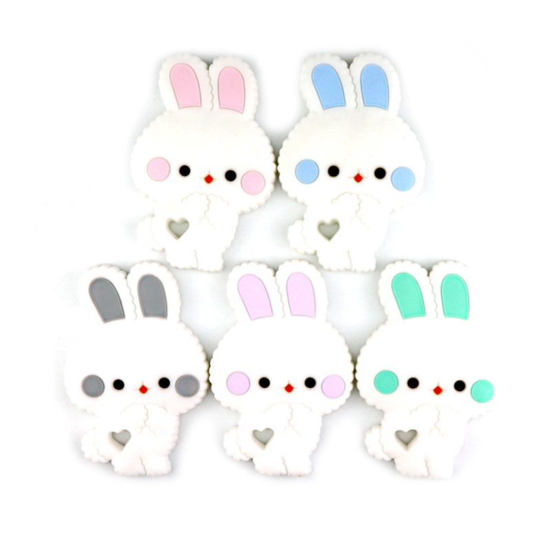 Safe Cartoon Baby Teethers BPA Free Cute Animal Rabbit Infant DIY Ring Teether Toddle Silicone Chew Charms Kids Teething Toys
