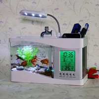 Tank Aquarium Mini Fish Tank Turtle Tank USB Desktop Creative LED Light Ecological Water Pump Cylinder with Clock