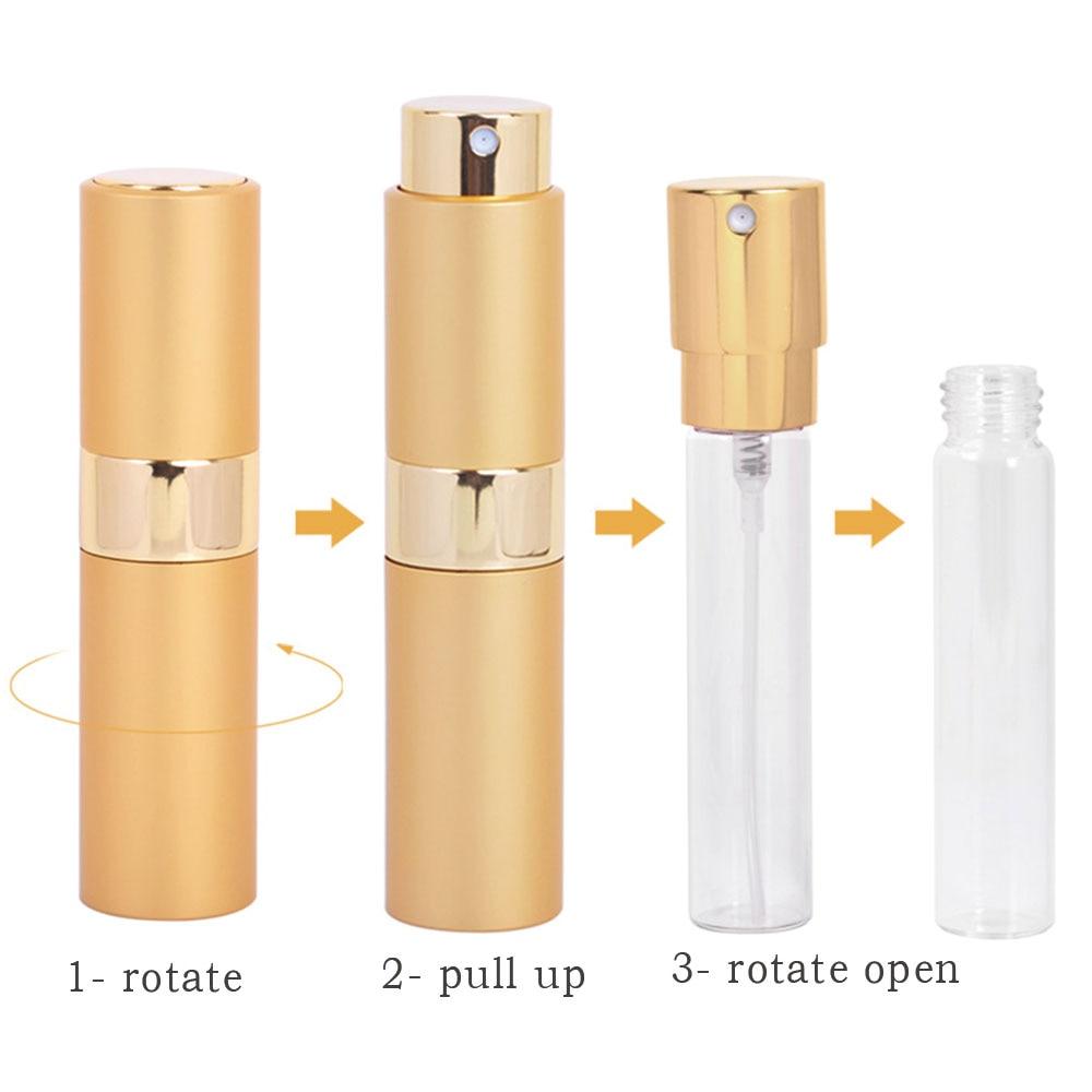 1pcs High Quality 15ML Mini Aluminum Perfume Bottle Empty Filling Spray Perfume Atomizer Rotary Bottle Free Shipping