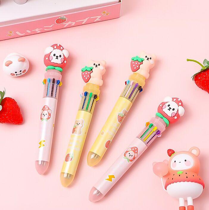 MINKYS 0,55 мм Kawaii клубничный медведь 10 цветов s многоцветная шариковая ручка DIY Рисование граффити шариковая ручка подарок школьные Канцтовары