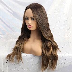 Image 4 - ALAN EATON, Длинные Синтетические парики, термостойкие волокна, Омбре, коричневые, серые, бежевые волосы, парики, средняя часть, натуральные волнистые волосы, парик для женщин